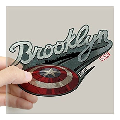 CafePress Captain America Brooklyn Sh Square Sticker 3 X 3 Square Bumper Sticker Car Decal, 3