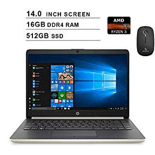 2020 Premium HP 14 Inch Laptop (AMD Ryzen 3 3200U (Beats i3-7100U), AMD Radeon Vega 3, 16GB RAM, 512GB SSD, Windows 10 Home S) (Gold) + NexiGo Wireless Mouse Bundle