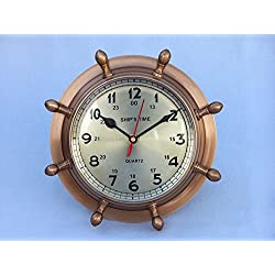 Handcrafted Decor WC-1451-AN Antique Brass Double Dial Porthole Wheel Clock44; 8 in.