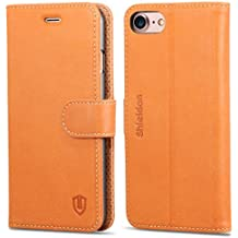 iPhone 7 Case, iPhone 8 Case, SHIELDON Premium Genuine Leather iPhone 8 Wallet Case [Cash Card Slots] [Kickstand] Magnetic Flip Cover iPhone 7 (2016) iPhone 8 (2017) - Brown