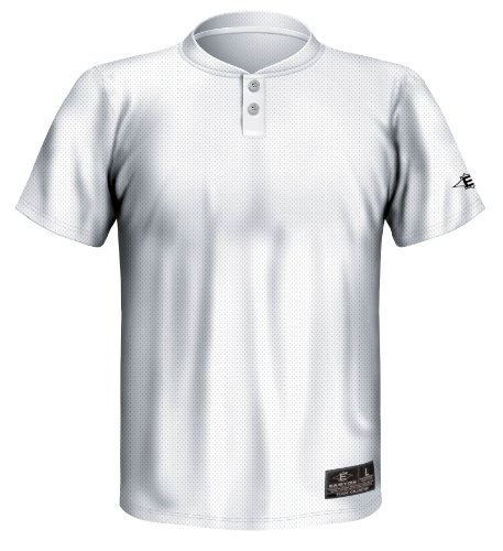 (Easton Youth Skinz 2 Button Placket Jersey, White, Large)