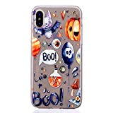 iPhone Xs Case, iPhone X Case (5.8'') [Clear Transparent], iPhone Xs Cover, MerKuyom Slim-fit [Flexible Gel] Crystal Soft TPU Skin Cover +Stylus for Apple iPhone Xs/iPhone X (Cool Halloween Demons)
