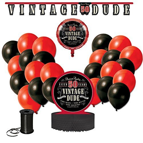 Vintage Dude 50th Birthday Party Decoration Bundle! 50th Birthday Celebration Decor Bundle Includes - Jointed Banner, Honeycomb Centerpiece, Balloons and Curling Ribbon!! -