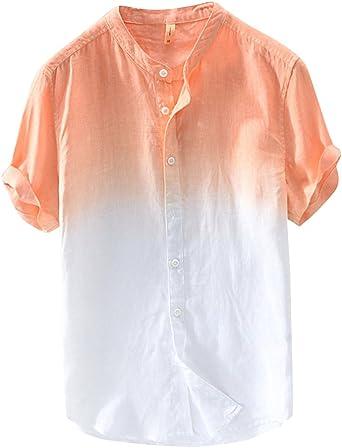 Camisa De Manga Corta Hombre Casual Sin Cuello Camisas De Lino Playa Naranja 3XL: Amazon.es: Ropa y accesorios