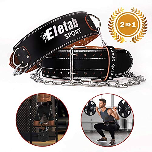 "Elevtab Weight Lifting Dip Belt, 2 in 1 Workout Belt, 4"" Genuine Leather Adjustable Powerlifting Belt with 43.3"" Heavy Metal Chain for Deadlift, Squat, Dip, and Pull-up"