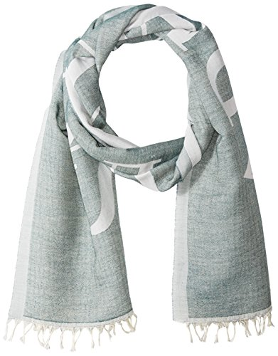 Armani Jeans Men's Cotton And Viscose Gauze Scarf With Logo, dark green, One Size by ARMANI JEANS