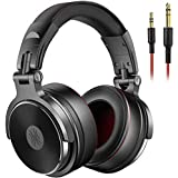 OneOdio Adapter-free DJ Headphones for Studio Monitoring and Mixing,Sound Isolation, 90° Rotatable Housing with Top Protein Leather Earcups, 50mm Driver Unit Over Ear DJ Headsets with Mic (black) (Pro-50)