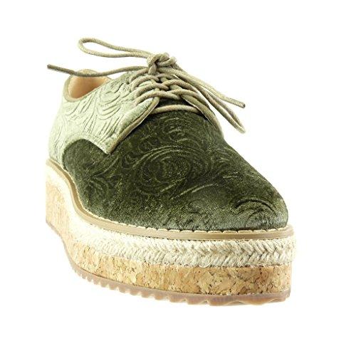 Liège Mode Angkorly Plateforme Derbies Compensé Brodé Vert Talon Femme cm Plateforme 5 Fleurs Espadrille Chaussure nfrrpq5Pw8