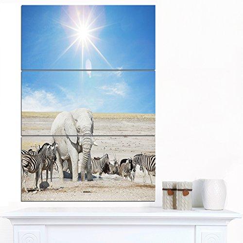Metal Zebra Wall (Designart White Elephant Herd Zebras-Animal Metal Wall Art, 28x36-3 Panels)