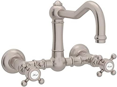 Rohl A1456XMSTN-2 KITCHEN FAUCETS, 8.9-in L x 0-in W x 7-in H, Satin Nickel
