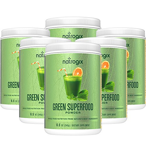 Natrogix Green Superfood Dietary Supplement - Gluten Free, Vegan Whole Food Nutrition & Powerful Antioxidant and Fiber Powder. Rich in Vitamins, Minerals and Probiotics (8.5Oz) * (5 Bottles). by Natrogix
