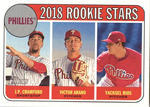 (2018 Topps Heritage #273 J.P. Crawford/Victor Arano/Yacksel Rios Philadelphia Phillies Rookie Baseball Card)