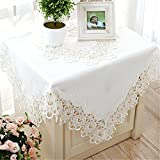 TaiXiuHome White European Style Minimalist Floral Embroidery Lace Tablecloth Hollow Top Decoration Square Approx 43x43 inch (110x110cm)