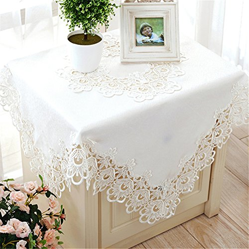 TaiXiuHome White European Style Minimalist Floral Embroidery Lace Tablecloth Hollow Top Decoration Rectangle Approx 24x48 inch (60x120cm)