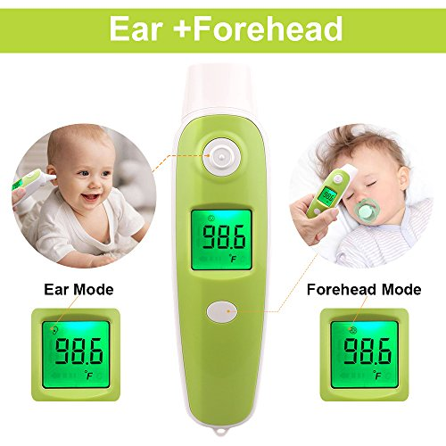BuySevenSide Ear Thermometer with Forehead Function,Digital Laser Infrared Thermometer Temperature Gun Instant Read Accuracy Professional Temperature for Children and Adults with Fever Indicator by BuySevenSide (Image #1)