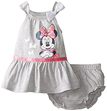 caa14b22b16 Disney Baby Baby-Girls Newborn Minnie Mouse Girls Dress Set with Glitter,  Light Grey