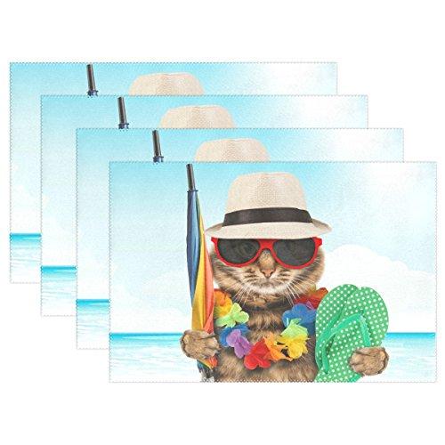(WOZO Cool Cat Kitten on Vacation Placemat Table Mat, Ocean Sea Beach 12
