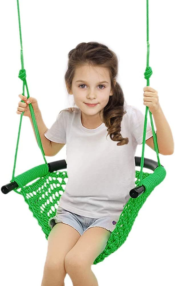 Beletops Kids Swing, Swing Seat for Kids Children Swing Set w/ Adjustable Rope Child Swing Hand-Knitting Rope Swing Chair for Indoor, Outdoor, Tree, Backyard, Room, Porch, Playground (Green)