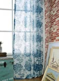 ASide BSide Sheer Curtains Garden Style Rod Pockets Voile Drapes Blossom Printed Home Decorations For Living Room Dining Room and Kids Room (1 Panel, W 52 x L 63 inch, Blue)