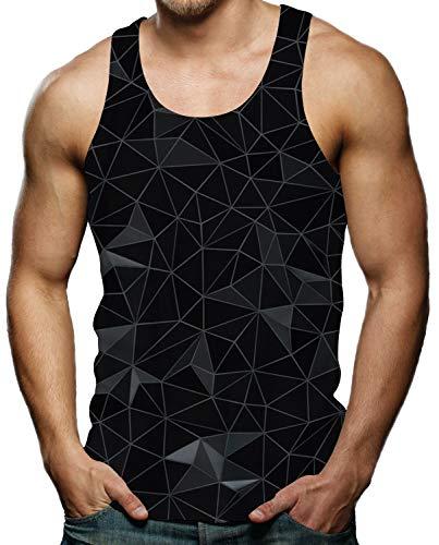 - Cool Tank Tops for Men Black Diamond Geometric Sleeveless Gym Shirt Graphic Tee M
