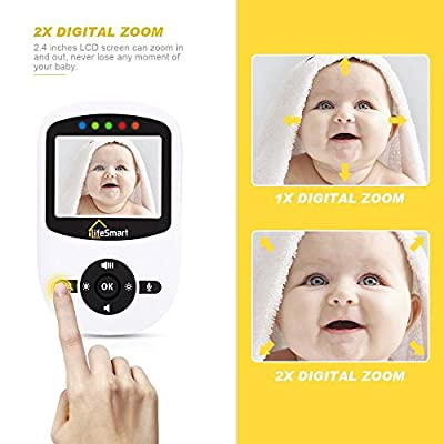 Video Baby Monitor,iLifeSmart Wireless Baby Monitor Video with Night Vision Two-way Talk 2.4 inch LCD Display Temperature Monitor for Baby,Pet, Old People(White) (SM2.4) from iLifeSmart