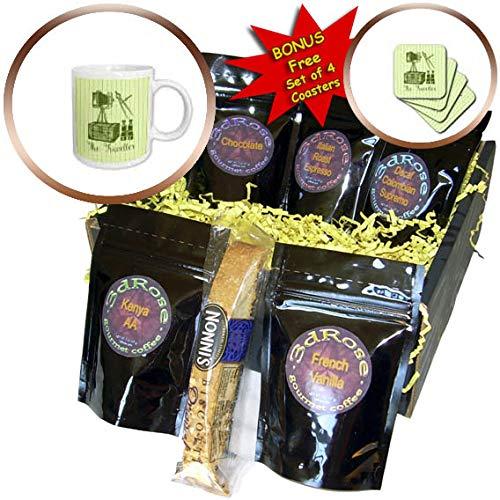 (3dRose Russ Billington Designs - The Traveller- Vintage Trunk, Binoculars, Camera and Map Compasses - Coffee Gift Baskets - Coffee Gift Basket (cgb_291556_1) )