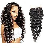 Peruvian Deep Wave Closure 18 Inch Three Part Lace Closure Unprocessed Virgin Hair 3 Part Lace Closure Bleached Knots Natural Hailine 4×4 Lace Closure Natural Color 8A Peruvian Curly Closure