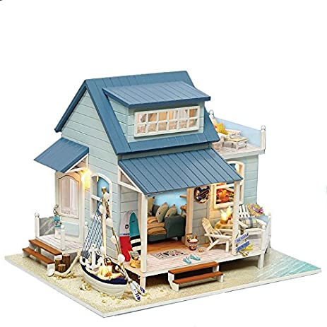 Amazon wyd diy wooden dollhouse caribbean sea villa led wyd diy wooden dollhouse caribbean sea villa led furniture kit doll house x mas gift solutioingenieria Images