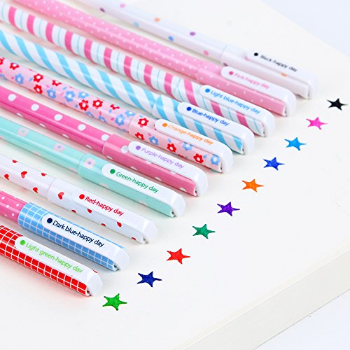 10pcs/set 0.5mm Cute Kawaii Flowers Animals Stripe Korean Multicolour Ink Gel Pens For Writing School Supplies by Office & School Supplies YingYing (Image #1)