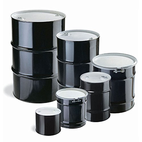 New Pig DRM683 Tight-Head UN Rated Lined Steel Drum, 5 Gallon Capacity, 14-1/2'' Diameter x 11-1/4'' Height, Black/White