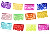 Party Pack - Mexican Tissue Papel Picado Banner''Salio El Sol'' - Medium Size 12 Tissue Panels per Banner/Multi-Colored - Designs and Colors as Pictured (3)