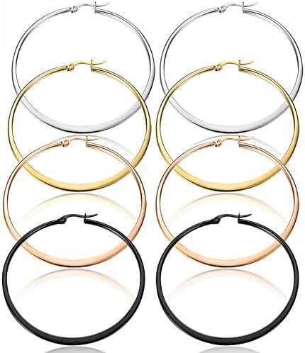 ORAZIO 4 Pairs Stainless Steel Hoop Earrings Set Flat Huggie Earrings for Women, 40-60mm