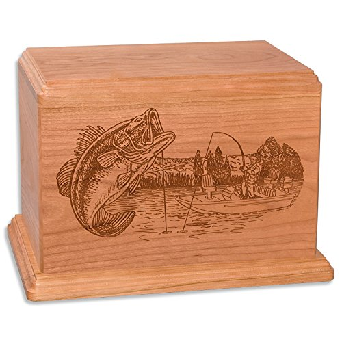 - Bass Boat Fishing Memorial Cremation Urn Made in the USA from Premium Solid Wood & Laser Carved with Bass Fisherman (Companion Urn (400 cubic inches), Natural Cherry)