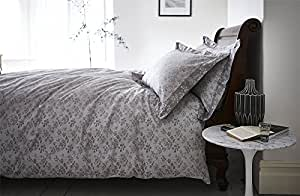 BIANCA SPRIG 100% COTTON JACQUARD 230 THREAD COUNT GREY WHITE CANADIAN QUEEN SIZE (230CM X 220CM - UK KING SIZE) DUVET COMFORTER COVER