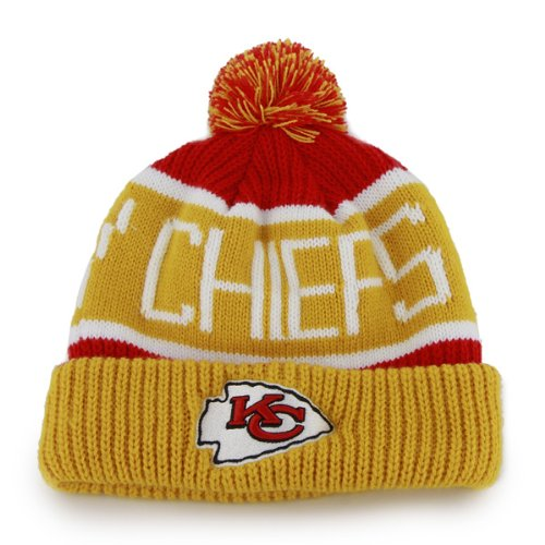 """Kansas City Chiefs Torch Red """"Calgary"""" Beanie Hat with Pom - NFL Cuffed Winter Knit Toque Cap"""