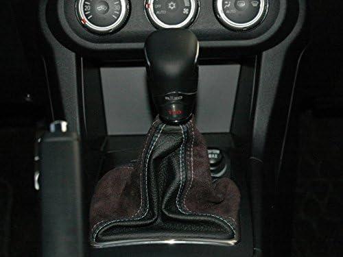 RedlineGoods Schaltsack Manschette kompatibel mit Lancer Evo X 2008-15 Alcantara Schwarz Stich Rot