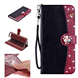 Amocase Strap Wallet Case with 2 in 1 Stylus for iPhone 8 Plus,3D Diamond Crown Color Block Premium Beaded PU Leather Stand Clear Slicone Back Case for iPhone 7 Plus/8 Plus 5.5 inch - Black Brown
