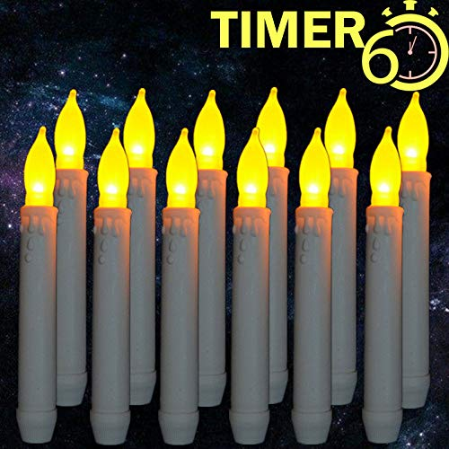 Burning Sister Window Candles with Timers,Led Battery Operated Flameless Taper Candles for Halloween&Christmas&Birthday&Harry Potter Party ThemedDecorations Supplies-12 Packs for $<!--$19.99-->