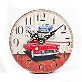 """OHTOP Vintage Style Silent Antique Wood Wall Clock For Home Kitchen Office Living Room Diameter 4.53"""" (2#) For Sale"""