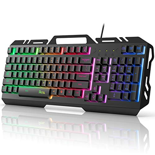 Gaming Keyboard, RATEL Colorful Rainbow LED Backlit USB Wired Keyboard, Ultra-Slim Quiet All-Metal Panel Computer Keyboard with Spill-Resistant Design for Desktop, Computer, PC Gamer