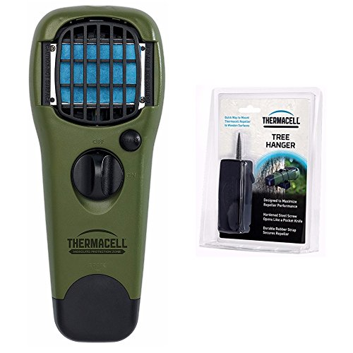 Thermacell MR-GJ Portable Mosquito Repeller (Olive) and Tree Hanger, with 3 Refill Mats + Butane Cartridge by Thermacell