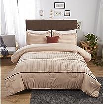 Felicite Home 3-Piece Luxury Stripe Comforter Set,All Season Fashion Quilt,Taupe,MIRA,Queen