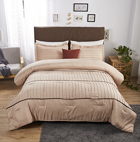 Felicite Home 3-Piece Luxury Stripe Comforter Set,All Season Fashion Quilt,Taupe, Queen