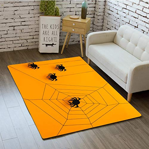 3D printing Black paper spider with web on yellow background Halloween concept Paper cut style Top view bathroom carpet flannel foam shower mat absorbent living room kitchen door carpet floor mat