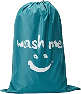 NISHEL Wash Me Laundry Bag, 28×40 inches Rips & Tears Resistant Large Dirty Clothes Storage Bag, Machine Washable, Heavy Duty Laundry Hamper Liner for College Students, Sky Blue