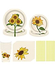 NEI Sunflower Party Decorations Cute Girl Birthday Party Supplies Including Sunflower Paper Dinner Plates and Napkins Serves 16 Guests Birthday Party Accessory