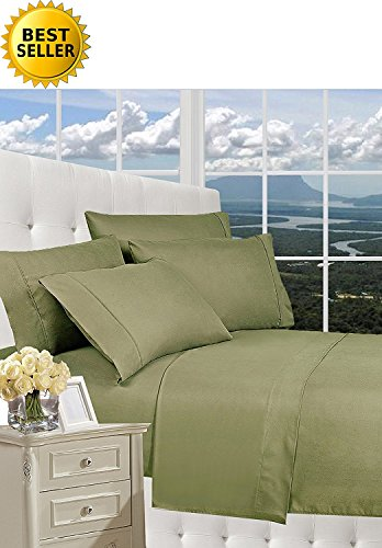 Celine Linen Luxury Silky-Soft 1500 Series Wrinkle-Free 4-Piece Bed Sheet Set, Deep Pocket up to 16 inch, King Sage/Green