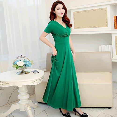 Jupe Robe MiGMV Green Longue Robe Haute Manches sleeves Courtes Jupe Robes Taille short Grand 2018 Femme V qEBxrzEC