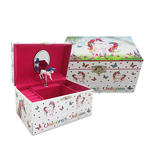 Magical Unicorn Kids Musical Jewelry Box - Pink Glittery Jewelry Box for Girls and Boys With Ring Holder - Lucy Locket