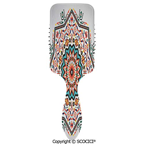Hair Brush for Women Girls Abstract Aztec Style Kaleidoscope Themed Boho Ethnic Sun Pattern Art Print Decorative Hairbrush Air cushion comb for Long, Thick, Curly, Wavy, Dry or Damaged Hair ()